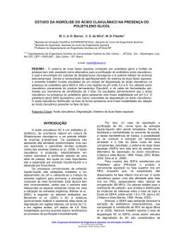 estudo da hidrólise do ácido clavulânico na - viii cobeq