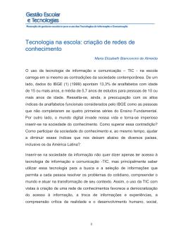 Tecnologia na escola: criação de redes de conhecimento