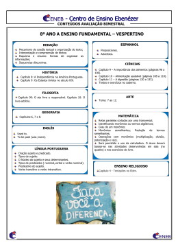 8º ANO A ENSINO FUNDAMENTAL – VESPERTINO