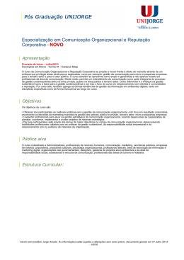 Especialização em Comunicação Organizacional e Reputação