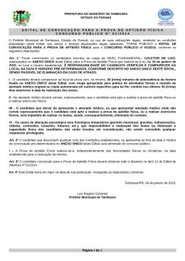 EDITAL DE CONVOCAÇÃO PARA A PROVA DE APTIDÃO FÍSICA