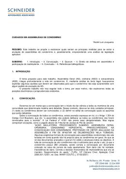 CUIDADOS EM ASSEMBLÉIAS DE CONDOMÍNIO *André Luiz