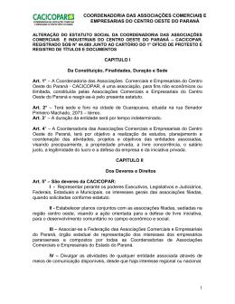 Estatuto da CACICOPAR – Coordenadoria das Associações