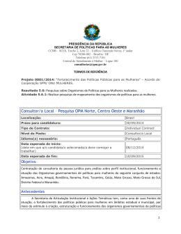 Consultor/a Local – Pesquisa OPM Norte, Centro Oeste e Maranhão