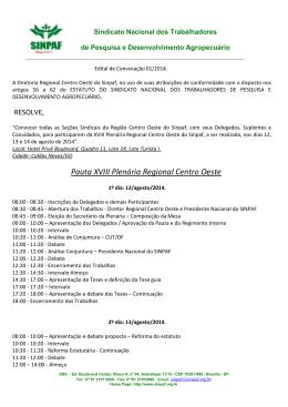 Pauta XVIII Plenária Regional Centro Oeste