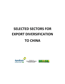 SELECTED SECTORS FOR EXPORT DIVERSIFICATION TO CHINA
