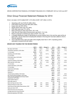 Orion Group Financial Statement Release for 2014