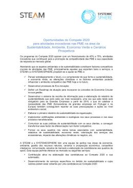 Oportunidades do Compete 2020 para atividades