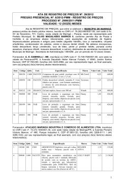 Ata de Registro de Preços nº 039/2012