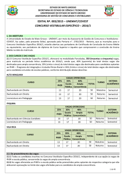 EDITAL Nº. 003/2015 – UNEMAT/COVEST CONCURSO
