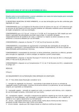 RESOLUÇÃO SMAC Nº 497 DE 6 DE SETEMBRO DE 2011. Dispõe