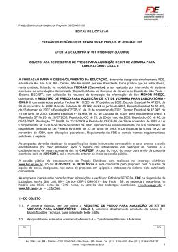 EDITAL DE LICITAÇÃO PREGÃO (ELETRÔNICO