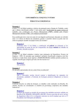 Perguntas e Respostas Atualizadas em 29/07/2010