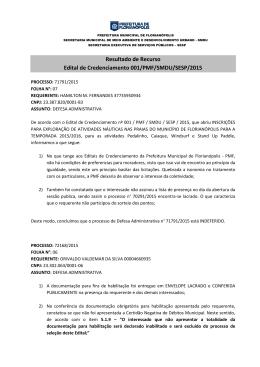 resultado recurso edital - Prefeitura Municipal de Florianópolis
