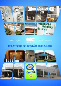 Relatório de Gestão 2003 a 2010