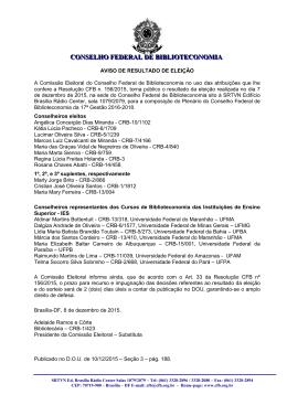 COMISSÃO ELEITORAL - Conselho Federal de Biblioteconomia