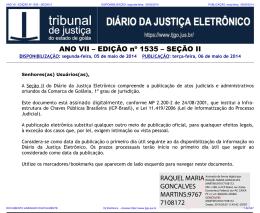 TJ-GO DIÁRIO DA JUSTIÇA ELETRÔNICO - EDIÇÃO 1535