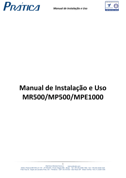 MANUAL DO USUÁRIO - MR500, MP500 e MPE1000