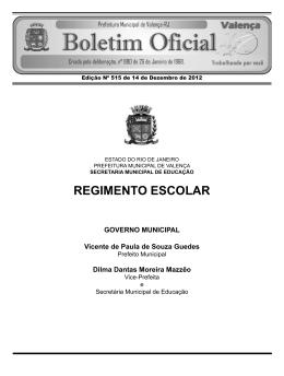 REGIMENTO ESCOLAR - Prefeitura Municipal de Valença