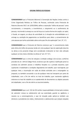 OFICINA TRÁFICO DE PESSOAS CONSIDERANDO que o