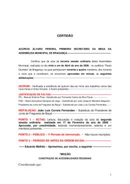 CERTIDÃO Considerando que: - Câmara Municipal de Bragança