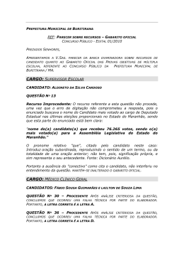 Resultado dos Recursos contra o gabarito de Buritirana
