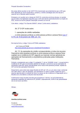 Art. 2 O IOF incide sobre: I - operações de crédito - SINFAC-SP