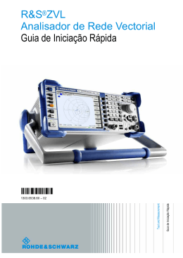 R&S®ZVL Analisador de Rede Vectorial - Guia
