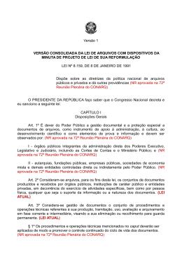 Versão 1 VERSÃO CONSOLIDADA DA LEI DE ARQUIVOS