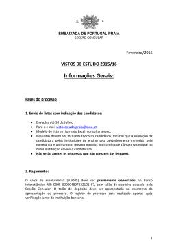 Informações Gerais: - Embaixada de Portugal em Cabo Verde