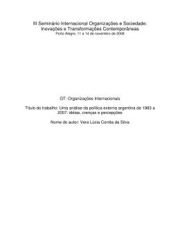 Uma análise da política externa argentina de 1983 a 2007