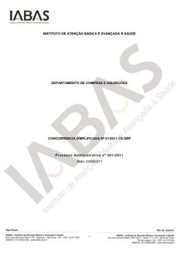 Concorrência Simplificada Para Registro de Preço nº 01/2011