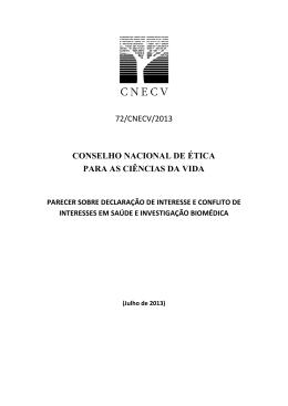 Parecer N.º 72/CNECV/2013 sobre Declaração de Interesse e