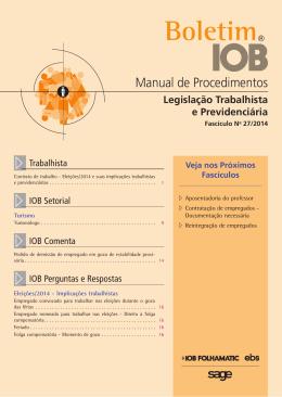 IOB - Legislação Trabalhista - nº 27/2014