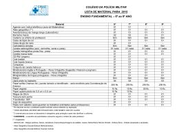 COLÉGIO DA POLÍCIA MILITAR LISTA DE MATERIAL PARA 2015