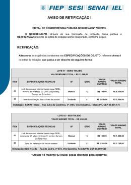 730.2015 - AVISO DE RETIFICAÇÃO I