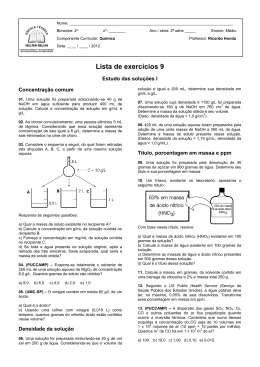 Lista de exercícios 9 - PROF. RICARDO HONDA