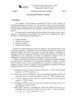 EXPERIMENTO 14: Concentração de soluções e diluição