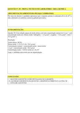 Tec. Lab. Química – questão 30