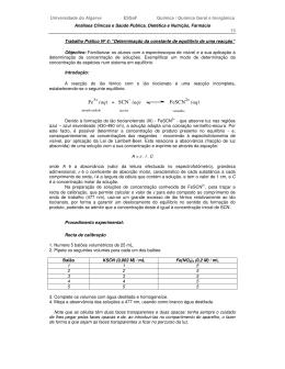 Fe (aq) + SCN - (aq) FeSCN (aq)