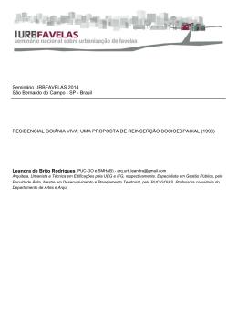 residencial goiânia viva: uma proposta de reinserção
