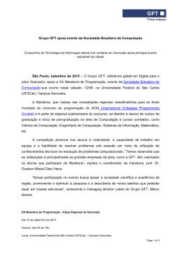 Grupo GFT apoia evento da Sociedade Brasileira de Computação