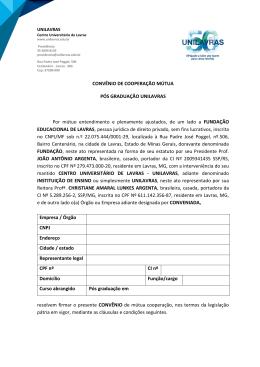 Formulário para convênio empresarial