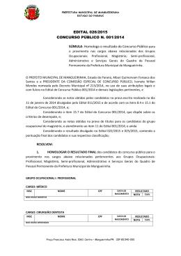 EDITAL 026/2015 CONCURSO PÚBLICO N. 001/2014 SÚMULA