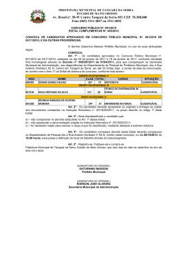 concurso público - Prefeitura Municipal de Tangará da Serra