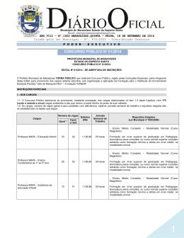concurso público nº 01/2014 - Prefeitura Municipal de Marataízes