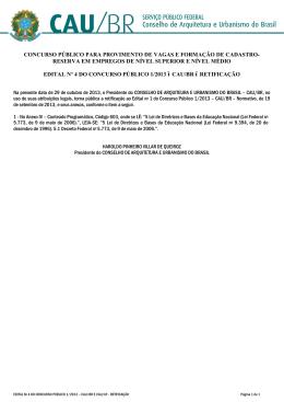 edital nº 4 do concurso público 1/2013