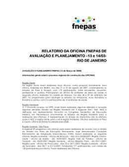 Relatório da Oficina FNEPAS de Avaliação 2007 e Planejamento