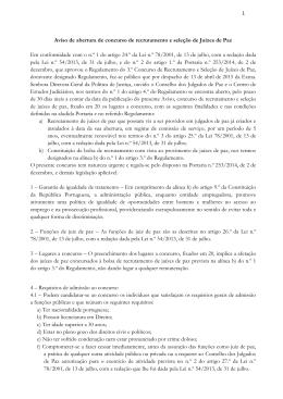 Aviso de abertura de concurso de recrutamento e seleção de Juízes