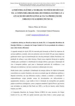 A INDÚSTRIA ELÉTRICA NO BRASIL NO INÍCIO DO SÉCULO XX